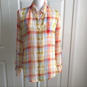 Timing • Orange Yellow Plaid Top